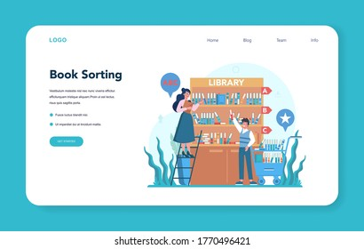 Librarian web banner or landing page. Library staff holding and sorting book. Knowledge and education idea. Llibrary bookshelves guid. Isolated vector illustration
