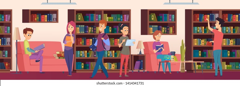 Library Woman Books Stock Vectors Images Vector Art