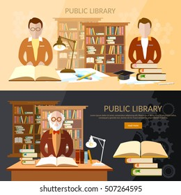 Library banners students read books library professor librarian vector illustration