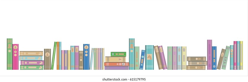 Library Book Banner with Books in a row