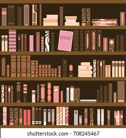 Library Book Shelf Background. Books and Knowledge. Vector Flat illustration.