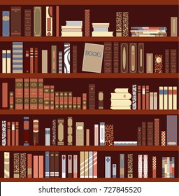 Library Book Shelf Background. Books and Knowledge. Education Library Book Store Concept. Vector Flat illustration.
