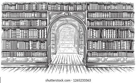 Library book shelf interior graphic sketch black white illustration vector illustration