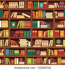 Library book shelf seamless vector pattern of literature books