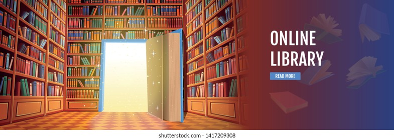 Library book shelves cartoon vector illustration. Online library.