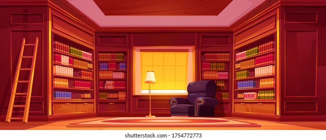 Library with bookcases, ladder, chair and lamp. Vector cartoon empty interior of old luxury library in house, store or university with wooden furniture, bookcases and armchair