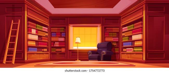 図書室、はしご、椅子、ランプ付き。 家、店、大学の古い高級図書館の空の内部に、木製の家具、本棚、肘掛け椅子を持つベクター漫画