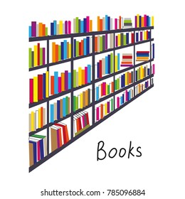 Library with books rows backcround for the card or cover. Vector graphic illustration