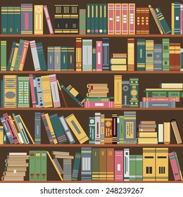 library bookshelf, books on a shelves in library, books seamless pattern, book set flat design, library vector, library background. library pattern, library color image, book-shelf concept for design
