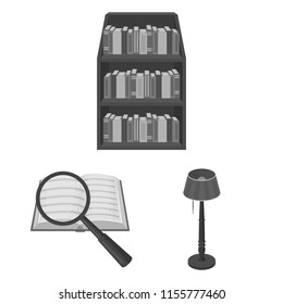 Library and bookstore monochrome icons in set collection for design. Books and furnishings vector symbol stock web illustration.