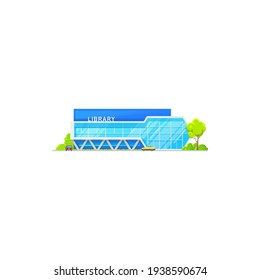Library building, public architecture isolated icon, vector flat facade exterior. Modern public library, school and college education books architecture, university study house, glass construction
