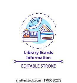 Library ecards information concept icon. Online library helpline idea thin line illustration. Electronic user registration system. Vector isolated outline RGB color drawing. Editable stroke