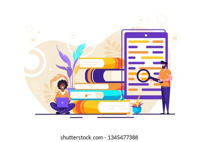 library of encyclopedia, e-learning,  web archive Concept for web page, banner, presentation, social media. Vector illustration Technology and literature, Dictionary, team work.