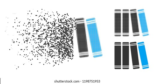 Library icon in disappearing, pixelated halftone and undamaged solid variants. Points are composed into vector disappearing library figure. Disappearing effect uses rectangular dots.