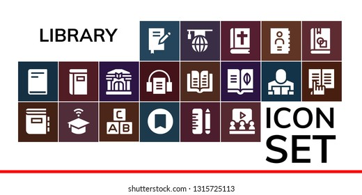 library icon set. 19 filled library icons.  Simple modern icons about  - Book, Dictionary, University, Abc, Bookmark, School, Learning, Library, Audiobook, Reader, Ebook, Bible