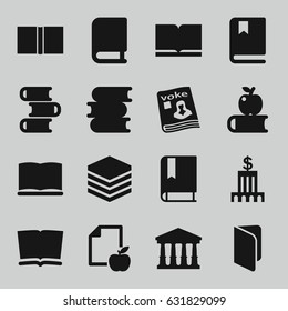 Library icons set. set of 16 library filled icons such as court, book, paper and apple, magazine, bank, apple on book