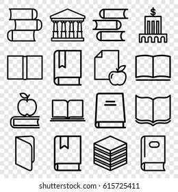 Library icons set. set of 16 library outline icons such as court, book, paper and apple, apple on book, bank
