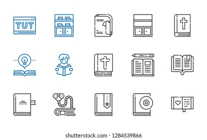 library icons set. Collection of library with diary, audiobook, book, bookworm, bible, reading, open book, bookshelf, catalogue, tutorial. Editable and scalable library icons.