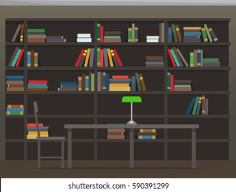 Library interior with bookshelves. Room with bookcase filled with piles of colorful textbooks, chair and table with classic desk lamp flat vector. College library illustration for educational concept