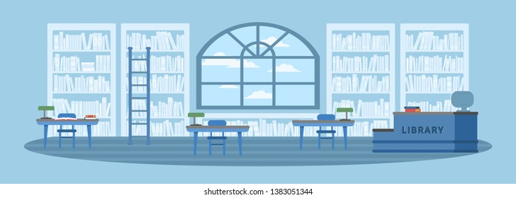 Library interior flat vector illustration. Bookshelves, tables with desk chairs. Books, textbooks stacks and rows drawing. Education, studying, learning. Empty university, school, college reading room