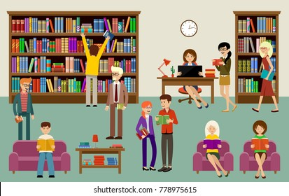 Library interior with people and book shelves. Education. Vector illustration