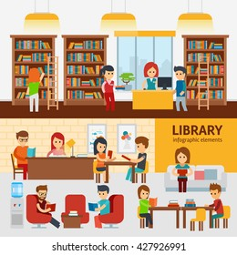 Library interior with people, reading books infographic elements. Library vector flat illustration, library stock vector design