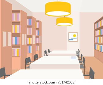 Library interior with tables, chairs, bookcases, lights. Perspective view. Empty space. Vector illustration of reading room. Warm colors. Beige, yellow, brown. Scene for design. Horizontal composition