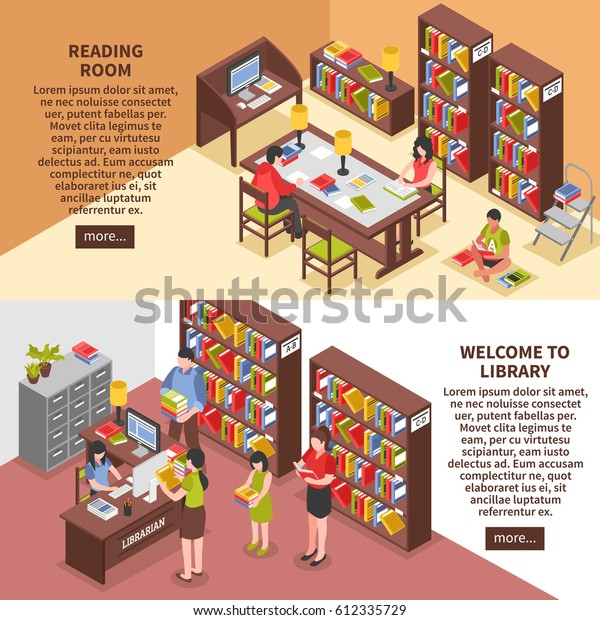 Library Isometric Horizontal Banners Books Reading Stock