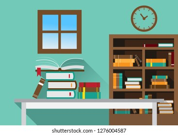 Library with open book on table and bookcase,wall clock on brown wall background.
