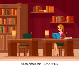 Library reading room interior flat orthogonal composition with young lady customer at table and bookshelves vector illustration