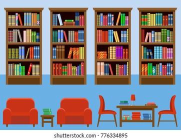Library room. Interior. Books. Vector illustration