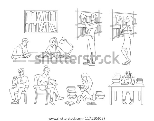 Library Vector Illustration Set Sketch Style Stock Vector