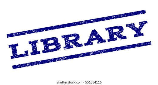 Library watermark stamp. Text tag between parallel lines with grunge design style. Rubber seal stamp with unclean texture. Vector navy blue color ink imprint on a white background.