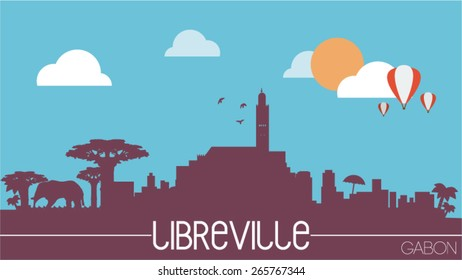 Libreville city Gabon skyline silhouette flat design vector illustration