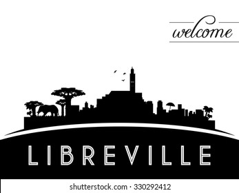 Libreville Gabon skyline silhouette, black and white design, vector illustration
