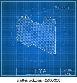Georgia blueprint map template capital city stock photo photo libya blueprint map template with capital city tripoli marked on blueprint libyan map vector malvernweather Choice Image