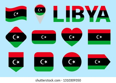 Libya flag vector set. Geometric shapes. Flat style. natioanl symbols collection. sports, national, travel, geographic, patriotic, design elements. isolated icons with state name