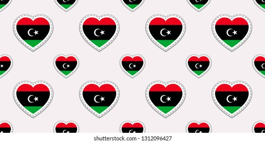 Libya flags background. National seamless pattern. Vector stickers. Love hearts symbols. Good choice for sports pages, travel, patriotic, geographic, elements. patriotic wallpaper
