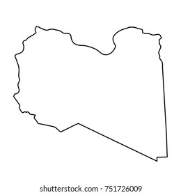 Libya map of black contour curves on white background of vector illustration