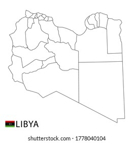 Libya map, black and white detailed outline regions of the country. Vector illustration