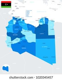 Libya Map - Detailed Info Graphic Vector Illustration