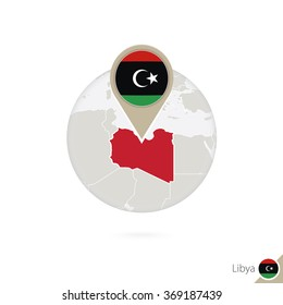 Libya map and flag in circle. Map of Libya, Libya flag pin. Map of Libya in the style of the globe. Vector Illustration.