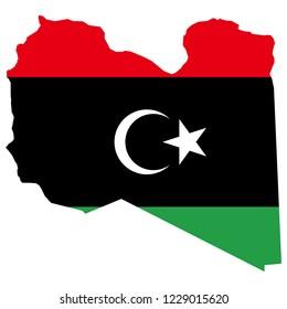 Libya Map And Libya Flag Vector