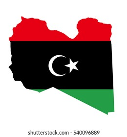 Libya map and flag in white background