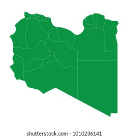 Libya map isolated on transparent background. high detailed Green map of Libya. Vector illustration eps 10.