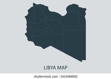 Libya map on gray background vector, Libya Map Outline Shape Gray on White Vector Illustration, Map with name. High detailed Gray illustration map Libya. Symbol for your web site design logo.