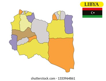 Libya map vector illustration