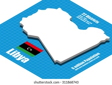 Libya map vector three dimensional