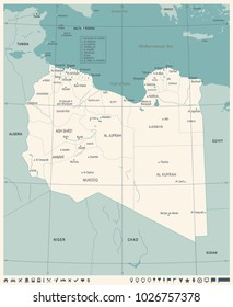 Libya Map - Vintage High Detailed Vector Illustration