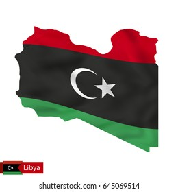 Libya map with waving flag of country. Vector illustration.
